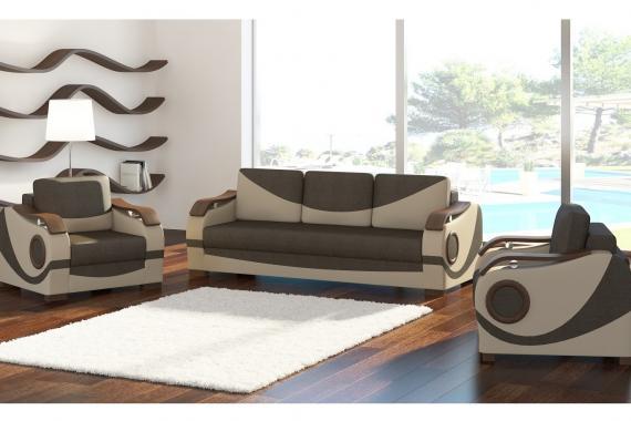 ALBERTO sedací souprava 3+1+1 s dřevěným dekorem, rozkládací