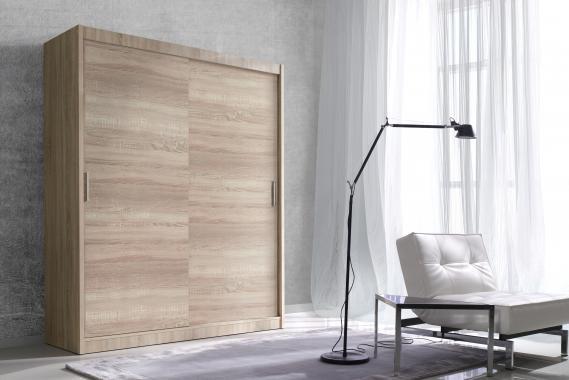 ALDO 150 šatní skříň s posuvnými dveřmi v dekoru dub sonoma