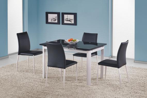 ALSTON rozkladací sklenený jedálenský stôl, čierny