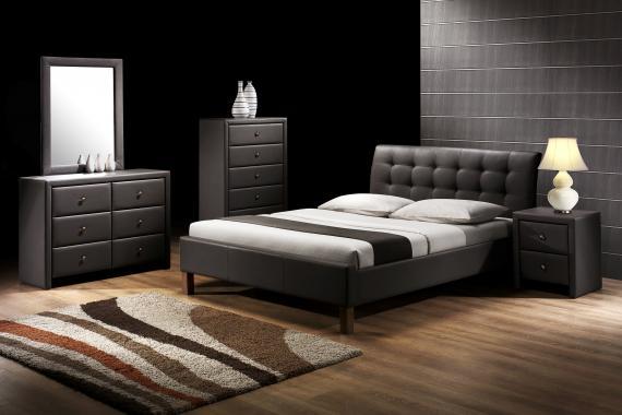 SAMARA moderná čierna čalúnená posteľ 160x200 s roštom
