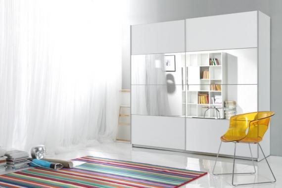 AXEL 3 veľká biela šatníková skriňa so zrkadlom | 3 rozmery