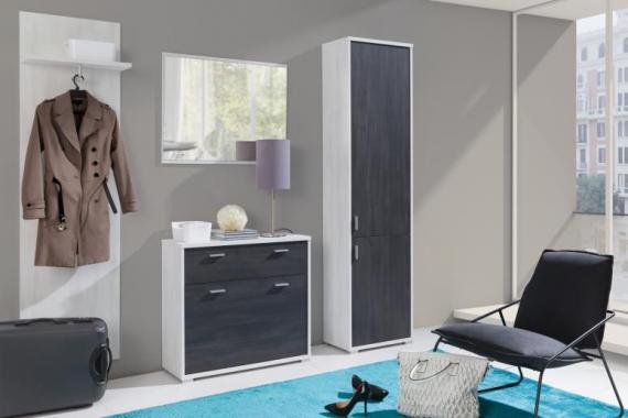 LIDIA elegantní předsíň s botníkem, skříní a zrcadlem
