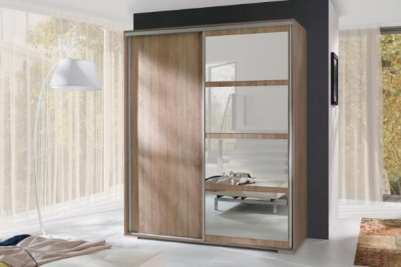 TARA moderní šatní skříň se zrcadlem a zásuvkovým kontejnerem