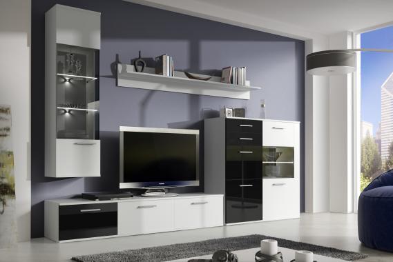 WILSON obývacia stena, biely mat/čierny lesk