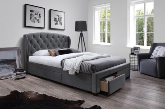 HLR, SABRINA posteľ 160x200, sivá látka