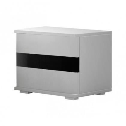 LUCA Nočný stolík, biely mat/čierny lesk