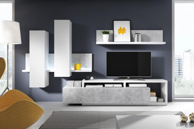 HLT, BOND obývacia stena, dekor biela / betón Colorado