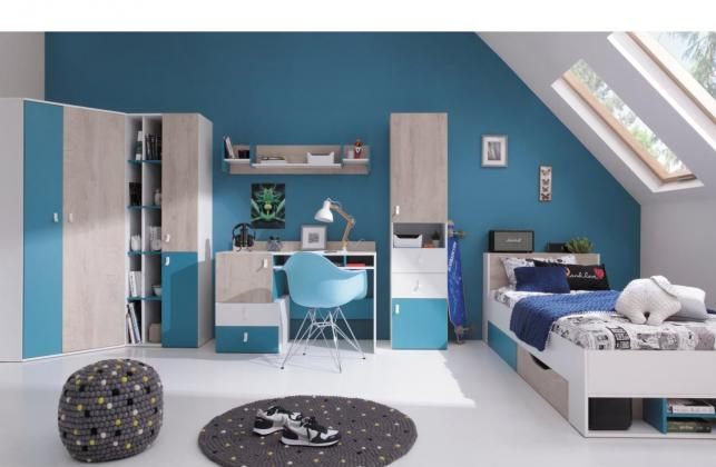 MBLR, PLUTO A Dětská zostava, dekor bílý lesk/dub/modrá