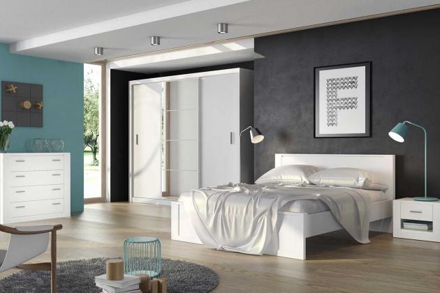 IDEA, zostava do spálne, dekor biely, dub sonoma