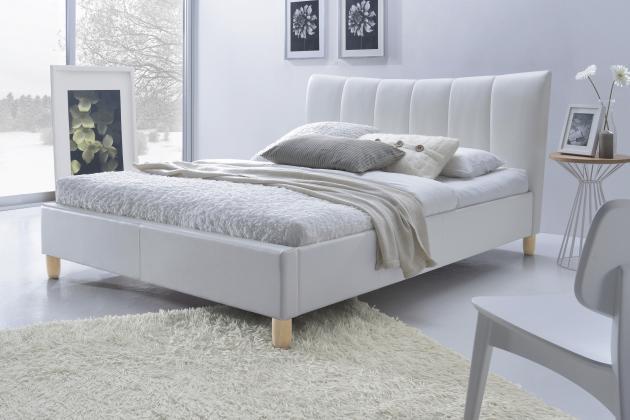 SANDY čalúnená posteľ 160x200, biela eko koža