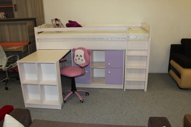 DLR, KAMIL detská vyvýšená posteľ s písacím stolom z masívu, fialovo-biela