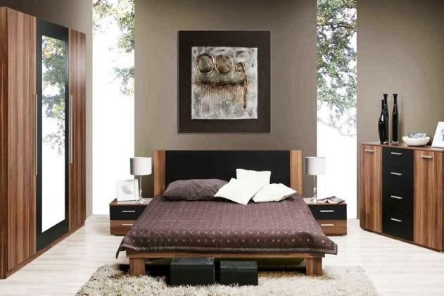 JASMINE III zostava do spálne, dekor orech/čierna