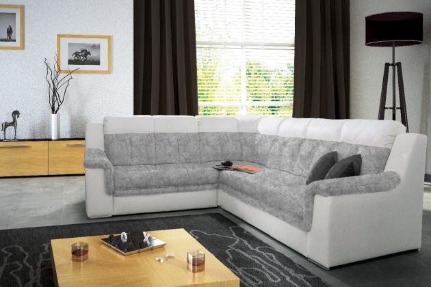 ISABEL Rohová sedačka, šedobílá