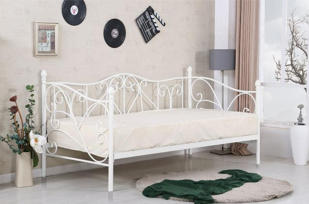 Levně Sumatra, kovová postel 90x200, černá, bílá