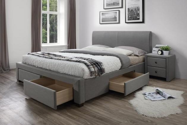MODENA posteľ 160x200 cm, sivá