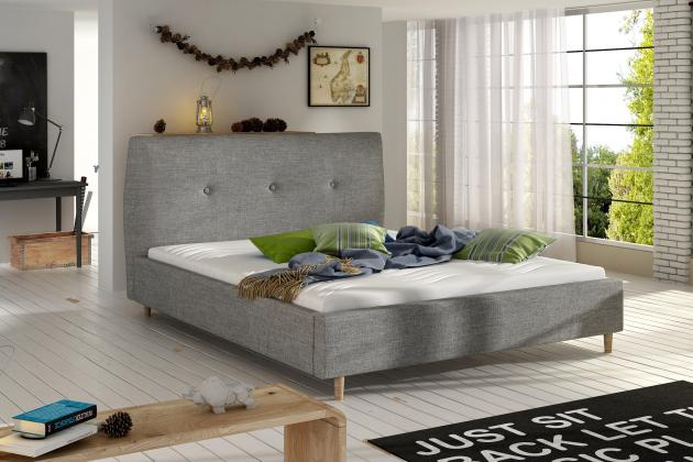 BERIO čalouněná postel 140-160x200 cm, šedá