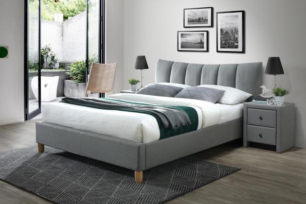 SANDY 2 čalúnená posteľ 160x200, biela eko koža