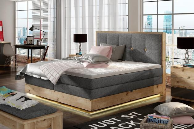 WRS, GLANS Boxspring posteľ 180x200 cm s úložným priestorom a LED osvetlením