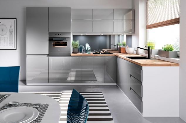 GLM, ALAN sektorová kuchynská linka, sivý lesk, biely lesk
