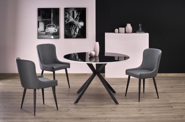 AVELAR okrúhly jedálenský stôl v modernom štýle, fi 120/76 cm, čiernobiely