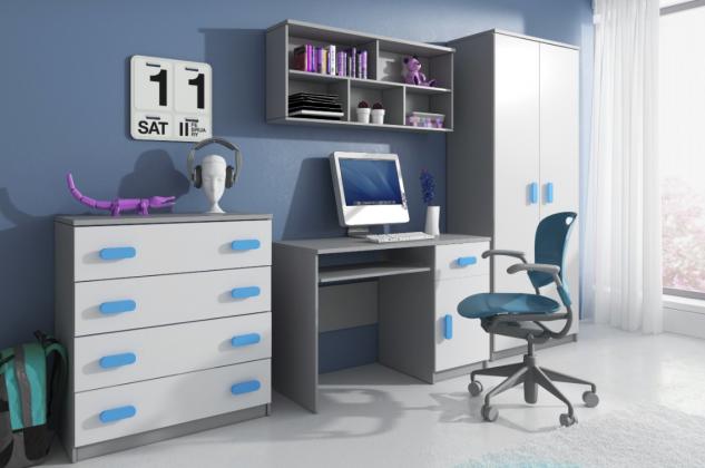 ICK, MIKI IV zostava do detskej izby, sivá/farebná