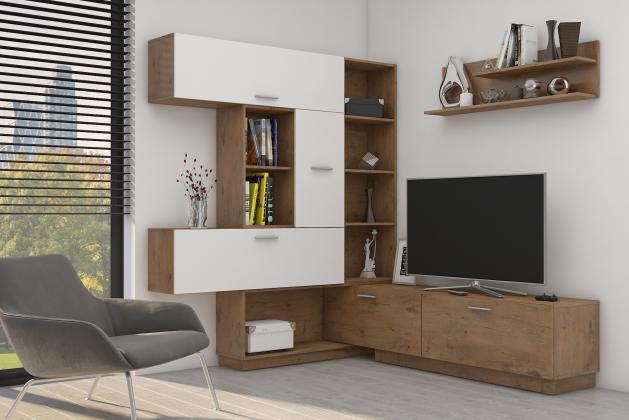 FLEXI variabilna obývacia stena, dekor biely lesk/dub lancelot
