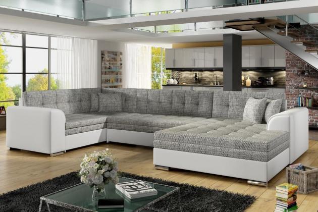 SYDNEY U Rohová sedačka, bielo-šedá, 360x196x186cm