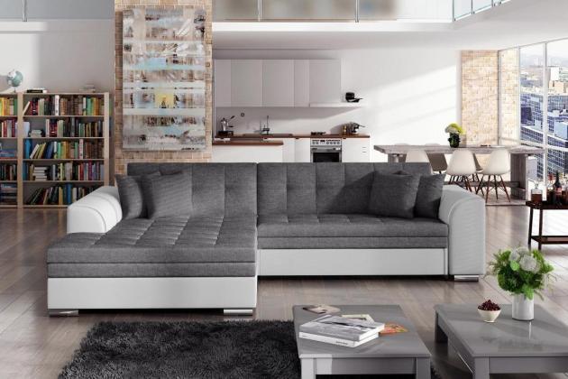 SYDNEY moderná rozkladacia rohová sedačka so širokou leňoškou, bielo-šedá