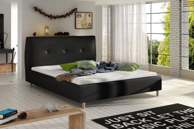 BERIO čalúnená posteľ 140-160x200 cm, čierná