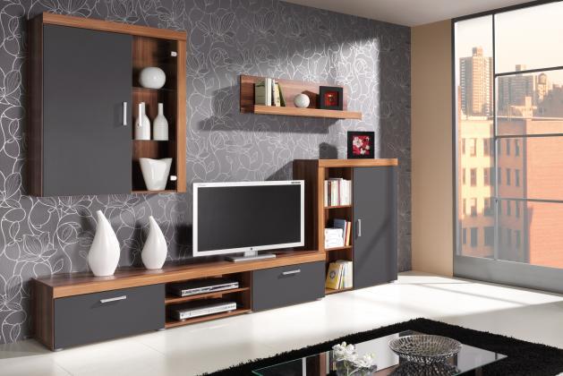SAMBA III obývací stěna, dekor švestka/grafit