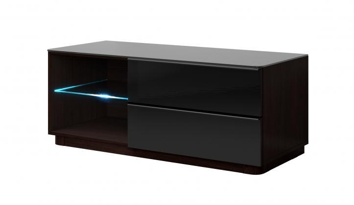 OMAR RTV STOLÍK 120 cm s LED osvetlením, čierny