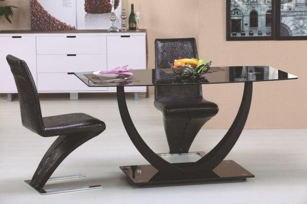 HLR, ANTON sklenený jedálenský stôl, čierny