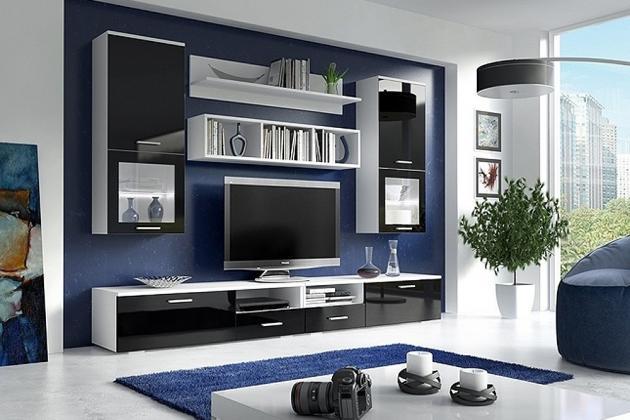 FORTE moderná obývacia stena, biely mat/čierny lesk