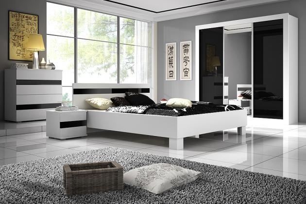 LUCA zostava do spálne, dekor biely mat/čierny lesk
