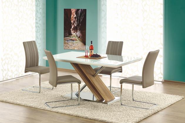 NEXUS sklenený jedálenský stôl, extra biela/dub sonoma